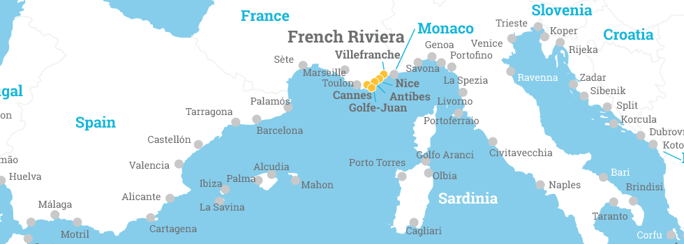 Map Of France French Riviera.French Riviera Ports Medcruise